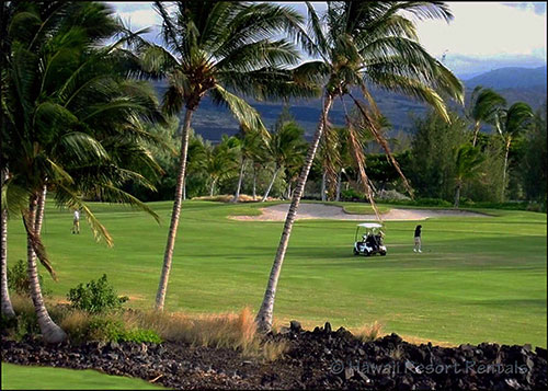 Our villa, Hale Pele's big view of Waikoloa Beach Golf Course and the distant volcano