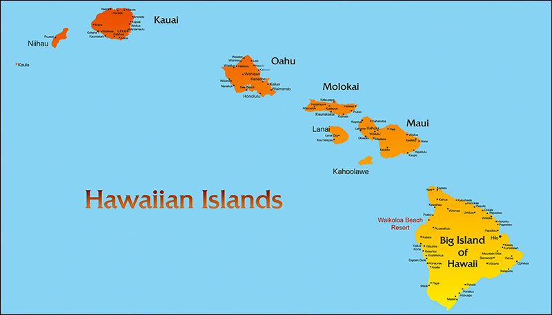 Hawaiian Islands Map