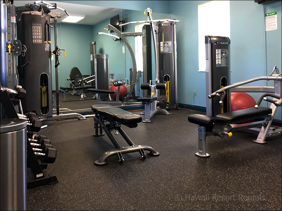 Waikoloa Colony Villas air-conditioned gym with elliptical, stationary bicycles and weight machines