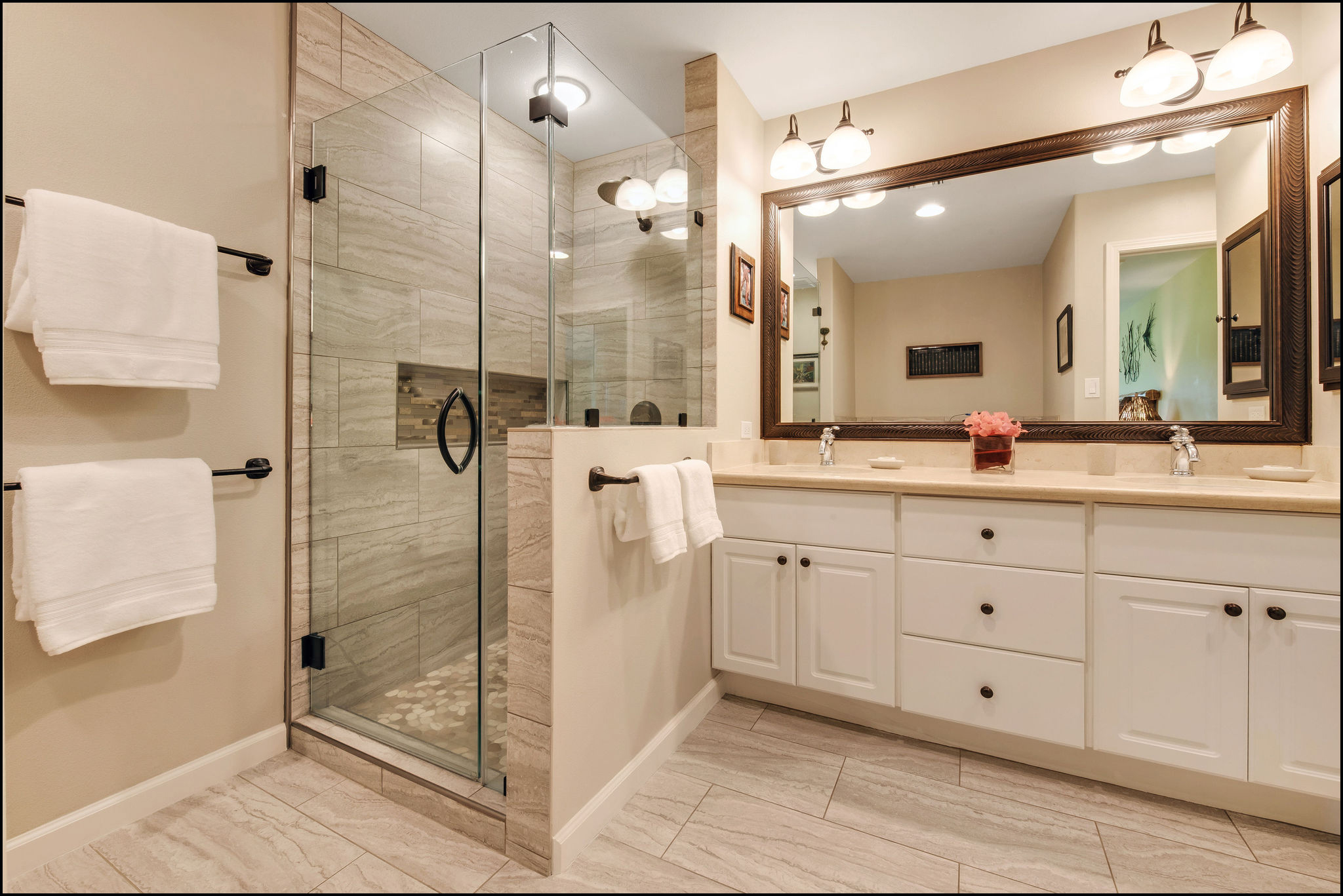 Beautiful master bathroom with tiled shower