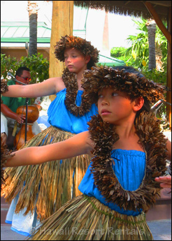 Keiki (Children) Hula Dancers at Kings' Shops in grass skirts and leis