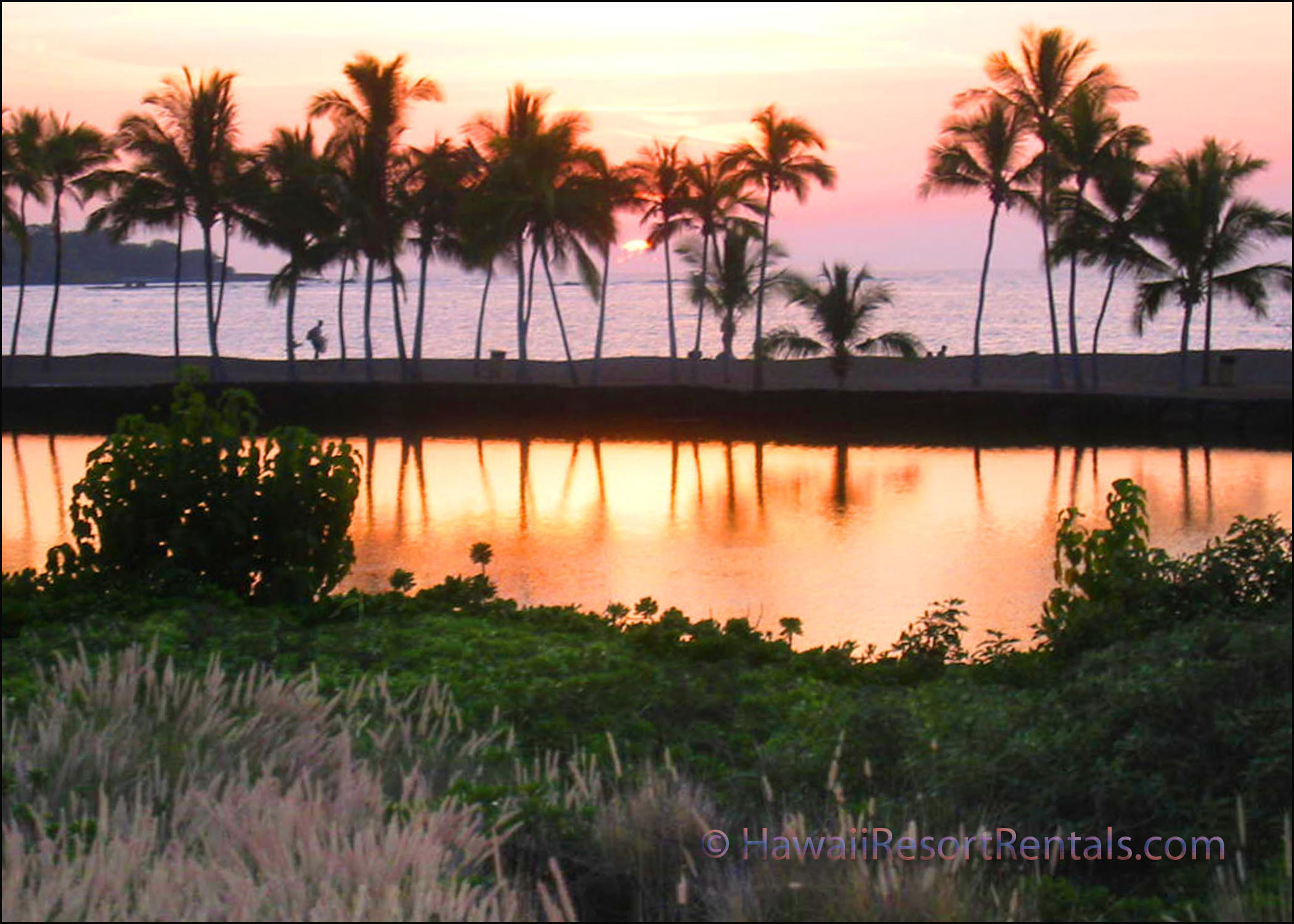 A Bay's ancient royal fishpond, palms and ocean at sunset