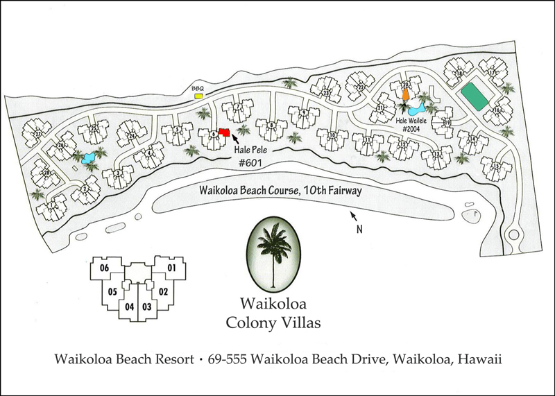 Waikoloa Colony Villas Map with our villas marked