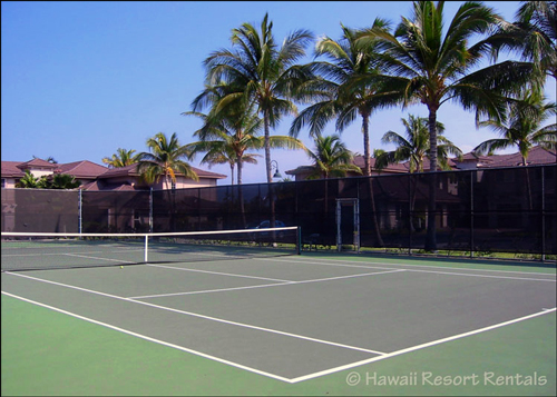Waikoloa Colony Villa's Tennis Court surrounded by palms