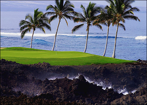 7th Hole by Ocean, Waikoloa Beach Golf Course