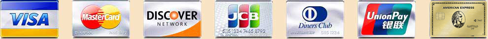 Visa, Mastercard, Discover, Japan's JCB credit card, Diners Club credit card, UnionPay credit card logos
